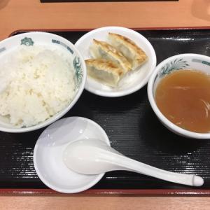 今日の昼食 ご飯と餃子