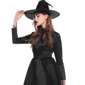 ハロウィンに!大人っぽい魔女ロングワンピース