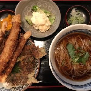 築地・長生庵で揚げもちカレーそばとタチウオの天丼ー本日のランチ