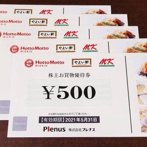 【継続保有認定された!プレナス(9945)の株主優待到着】ほっともっと・やよい軒で使えるお買物優待券!