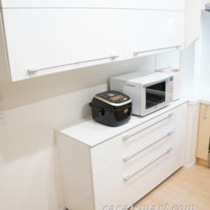 Web内覧会【一条工務店i-smart(アイスマート)入居前】#17キッチンのカップボード。上下のサイズにこだわった理由はゴミ箱スペースの確保。