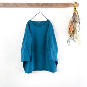 ブルーグリーンのダブルガーゼTシャツを作りました。
