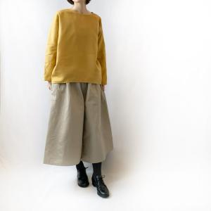 Creemaで春の福袋の販売開始。マスタードのプルオーバー×グレージュのフレアパンツのセットです。