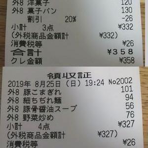 買い物日記 8/25 食費 711円