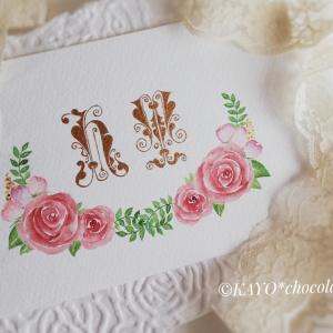 イニシャルとバラの額&バラのカード