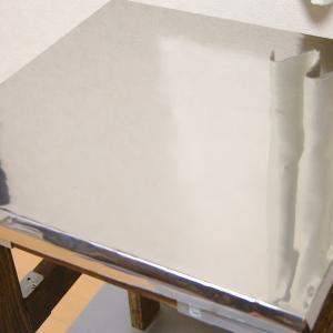 キッチン作業台DIY (4) ー 天板ステンレスシート貼り編
