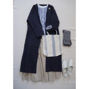 ナチュラル服コーデ☆ストライプシャツとキナリのリネンスカート