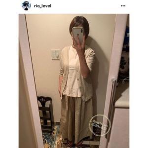 お客様コーデ☆よそいきリネンのギャザーワイドパンツ