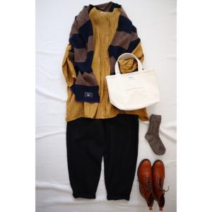 秋色のシャツとしましまストールでナチュラル服コーデ