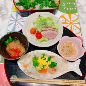 菜の花ちらし寿司で春らしく・ボタンの箸置き