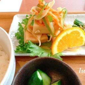 高野豆腐の南蛮漬け定食とアマビエ様