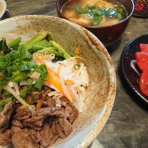 夕食 ビビンバ丼風