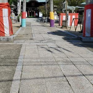 実家の近くの厳島神社と海斗君。