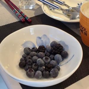 朝採りのブルーベリーとウエスティ。