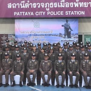 パタヤ)警察署で、タイ国家警察記念日を祝う式典