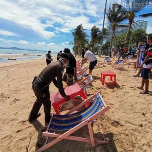 パタヤ)6月1日からビーチ利用可に 感染防止の新ルールの準備が進む