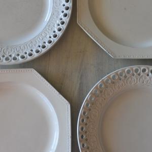 クレイユエモントロー ボルドー窯のデザートプレートたち♪ 次回更新予定のお品ものたちです
