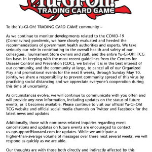 【遊戯王コロナウイルス問題】日本では4月10日までイベント中止に!再開は状況次第での判断に変更へ!?