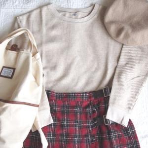 【ユニクロ&SM2】ワッフルT長袖でコーデ!赤いチェック柄巻きスカートと