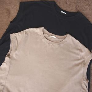 Tシャツワンピースをguでリピート買い無地黒とベージュのコーデは大人可愛く