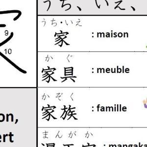 Kanji – 家(うち、いえ、や、カ/ maison, expert)