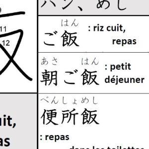 Kanji – 飯(ハン、めし/ riz cuit, repas)