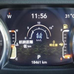 【ラングラーJL】航続距離低kmの状態でガソリンは何L残っていてどれぐらい走れるのか