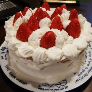 クリスマス&誕生日。22時からケーキを食べる。
