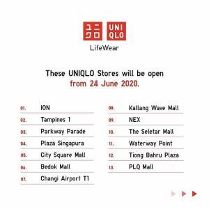 ユニクロ一部店舗が本日から営業再開です。