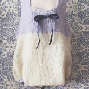 初めて編んでみた!あみむめもで編むベビーロンパース