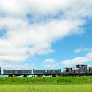 津軽鉄道 梅雨の晴れ間の貨物列車