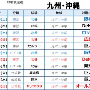 2020年中日地域別日程:九州・沖縄