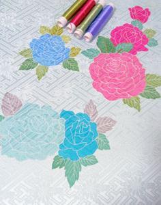 △振り袖の裾模様・・・日本刺繍の進捗状況