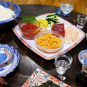 雲丹とイクラの手巻き寿司