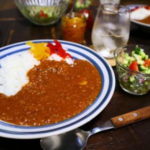 挽肉カレー*らっきょサラダ