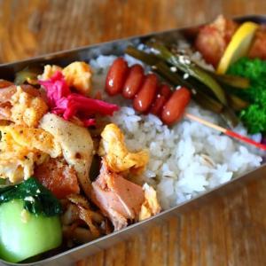 鮭と卵と野菜の油炒め*おっと弁