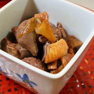 レバーと砂肝と鶏皮の煮つけ