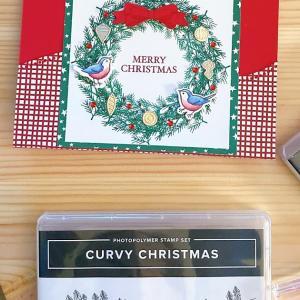 小鳥のリースのクリスマスカード