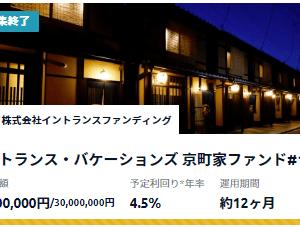 Funds(ファンズ) :京町屋案件(3,000万円)は33秒で秒速成立しました