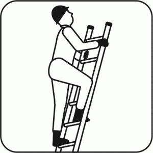 ハシゴに登っている作業員のアイコン