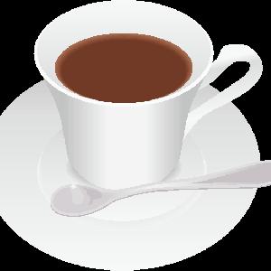 白いカップに入ったホットコーヒーのイラスト
