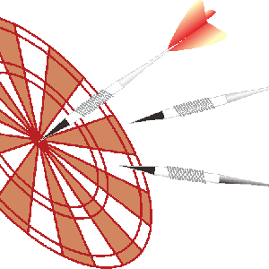 的に向かって矢を投げるダーツのイラスト