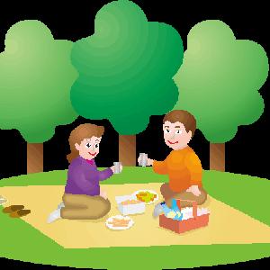 晴れた日にピクニックランチをしている男女のイラスト