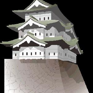 石垣の上にそびえる天守閣のイラスト