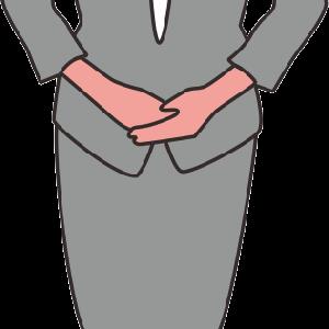 いらっしゃいませ女性の線描き漫画チックイラスト