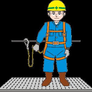 フルハーネス型安全帯を装着した高所作業員のイラスト