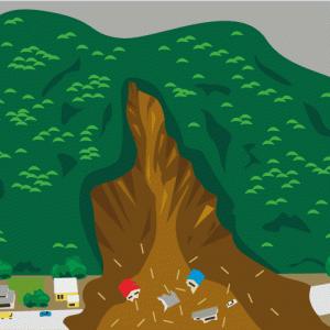 土石流が麓の住宅をのみ込んでいるイラスト