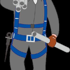 足場を組む単管を運んでいる鳶職人のイラスト