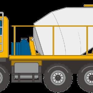 生コンクリートを工事現場に運ぶコンクリートミキサー車のイラスト