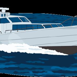 海原を駆け抜ける高速遊覧船のイラスト